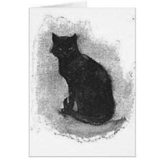 De zwarte Golvende Staart van de Kat Wenskaart