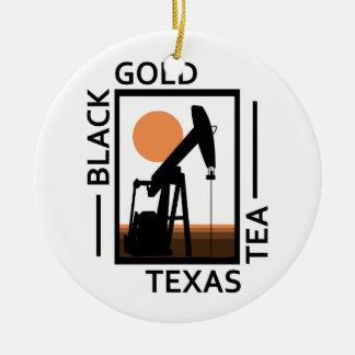 De zwarte Gouden Thee van Texas Rond Keramisch Ornament