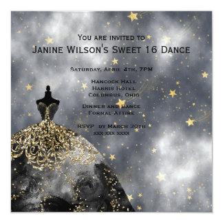 De zwarte Gouden Zwarte Verjaardag Sweet16 van de 13,3x13,3 Vierkante Uitnodiging Kaart