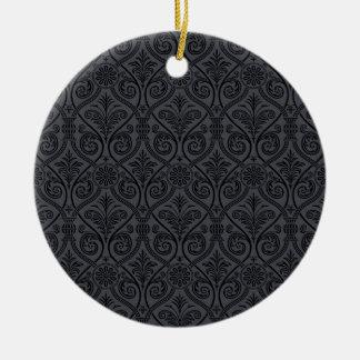 De zwarte Grijze Druk van het Damast Rond Keramisch Ornament