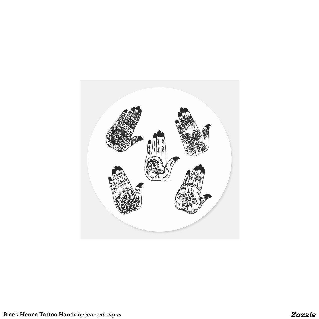 de zwarte handen het de henna ronde sticker