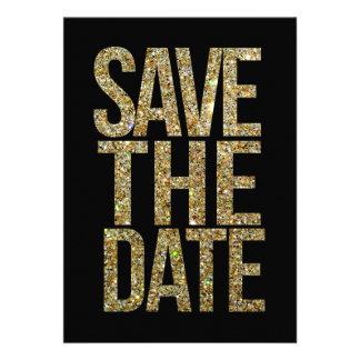 De zwarte het Goud schitteren sparen de Typograf Uitnodigingen