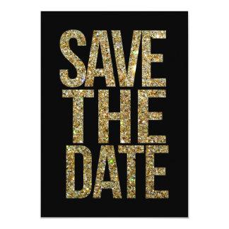 De zwarte & het Goud schitteren sparen de 12,7x17,8 Uitnodiging Kaart