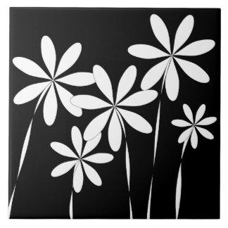 De Zwarte & het Wit van de bloem Bliss2 Keramisch Tegeltje