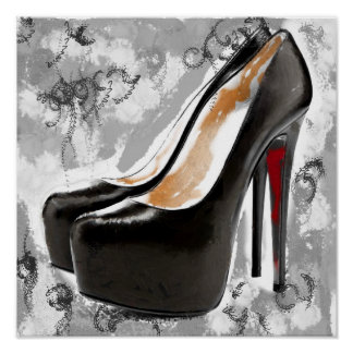 De zwarte Hielen van de Bodem van de Stiletto Rode Poster
