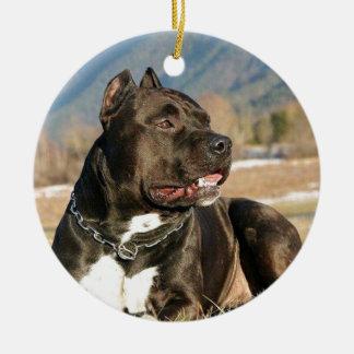 de zwarte hond van de pittstier rond keramisch ornament