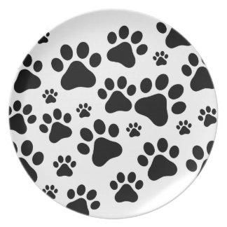 De zwarte honden van de Voetafdruk Melamine+bord