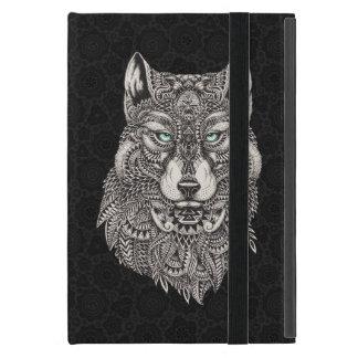 De zwarte Hoofd Versierd Illustratie van de Wolf iPad Mini Hoesje