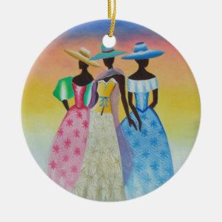 De zwarte is Mooi Afrikaans Amerikaans Art. Rond Keramisch Ornament