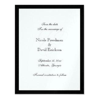 De zwarte kaart van de het huwelijksaankondiging 10,8x13,9 uitnodiging kaart