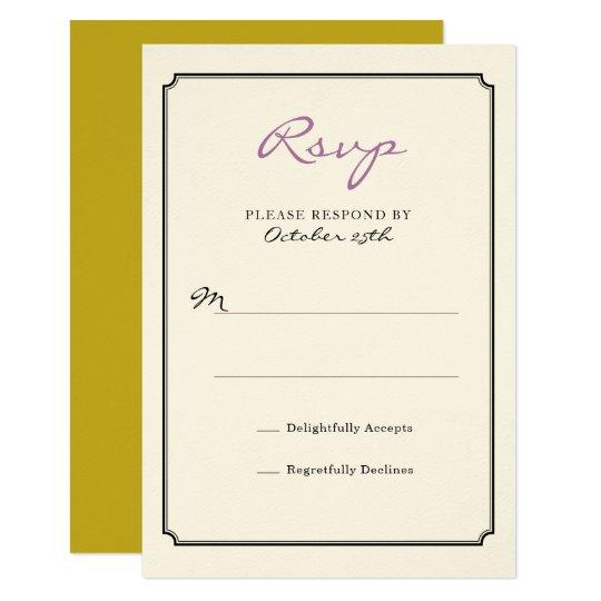De Zwarte Kaart van de Reactie van de Grens RSVP 8,9x12,7 Uitnodiging Kaart