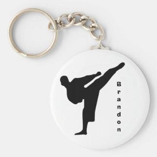 De zwarte Karate Keychain van het Silhouet Sleutelhanger