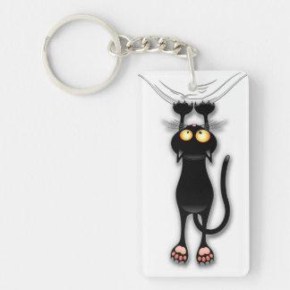 De Zwarte Kat die van de pret onderaan Keychain Sleutelhanger