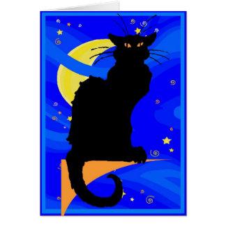 De Zwarte Kat van de sterrige Nacht Kaart