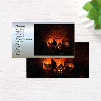 De Zwarte Kat van Halloween met Luminaries en Visitekaartjes