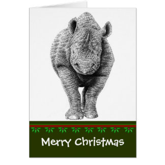 De zwarte Kerstkaart van de Rinoceros Briefkaarten 0