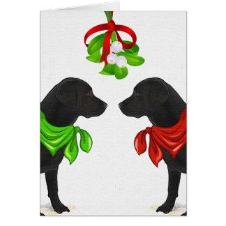 De zwarte Kerstkaart van Labrador Kaart