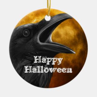 De Zwarte Kraai van Halloween Rond Keramisch Ornament