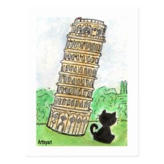 De zwarte Leunende Toren van het Praatje van Noir Briefkaart