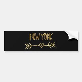 De Zwarte Liefde de V.S. van New York en het Goud Bumpersticker