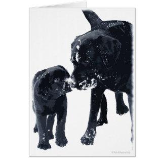 De zwarte Liefde van Labrador - Kerstkaart Briefkaarten 0