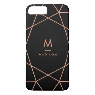 De zwarte met Moderne Faux nam Gouden Geometrisch iPhone 8/7 Plus Hoesje