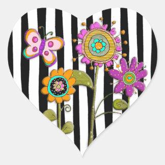 De zwarte Paarse Roze VolksSticker van de Bloemen Hart Sticker