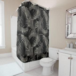 De zwarte Palm Luxe kijkt Tropisch Patroon Douchegordijn