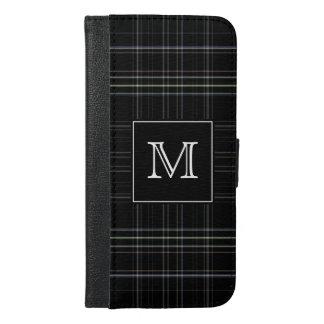 De Zwarte Plaid van het monogram iPhone 6/6s Plus Portemonnee Hoesje