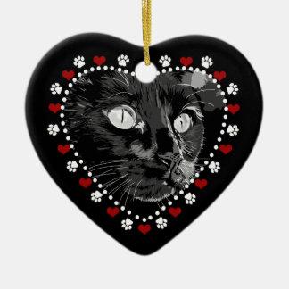 De zwarte Poten van de Kat en Harten Keramisch Hart Ornament