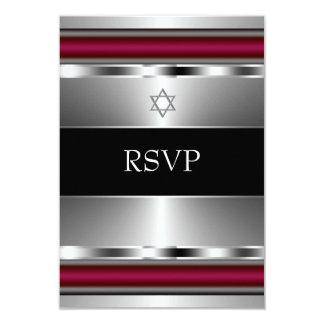 De zwarte Rode Bar mitswa RSVP van de Jodenster 8,9x12,7 Uitnodiging Kaart