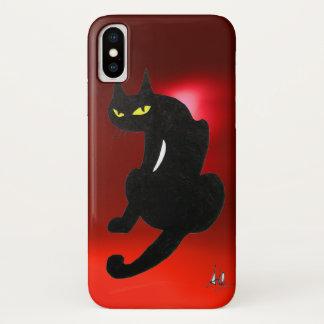 De ZWARTE Rode robijn van de KAT iPhone X Hoesje
