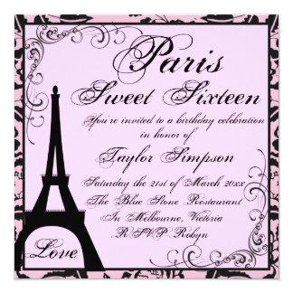 De zwarte & Roze Verjaardag van Parijs Sweet16 13,3x13,3 Vierkante Uitnodiging Kaart