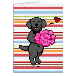 De zwarte Rozen van de Cartoon van Labrador Wenskaart