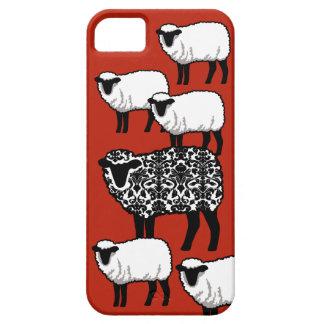 De zwarte Schapen van het Damast op Rood Barely There iPhone 5 Hoesje