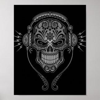 De zwarte Schedel van de Suiker van DJ Poster