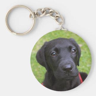 De zwarte Sleutelring van Labrador Basic Ronde Button Sleutelhanger