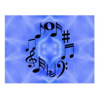 De zwarte Sleutels van de Nota van de Muziek Briefkaart