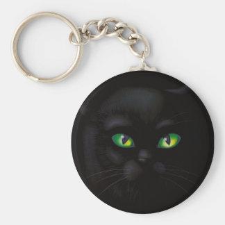 De zwarte Smaragdgroene Ogen Vertrouwde Keychain v Sleutelhanger