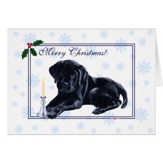 De zwarte Sneeuwvlok van Kerstmis van de Labrador Wenskaart