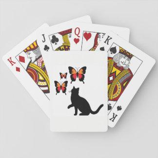 De zwarte Speelkaarten van de Kat en van Vlinders