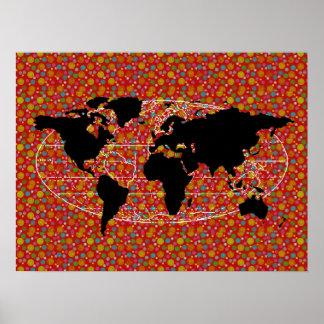 de zwarte stippen van de wereldkaart poster