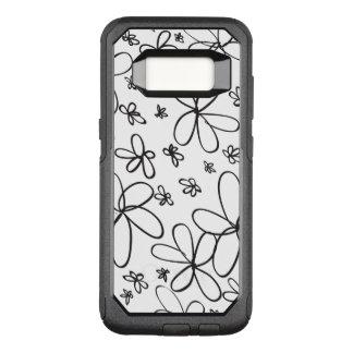 De Zwarte van de Krabbel van de bloem OtterBox Commuter Samsung Galaxy S8 Hoesje