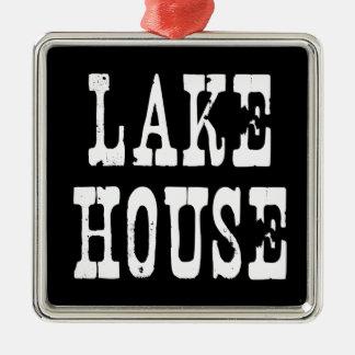 De Zwarte van het Huis van het meer Zilverkleurig Vierkant Ornament
