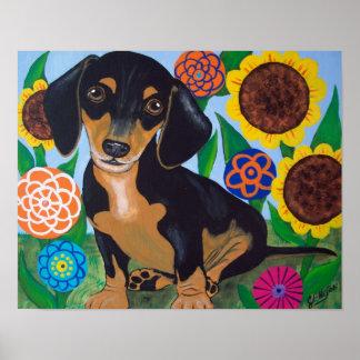 De Zwarte van het Puppy van de tekkel en Tan Druk Poster