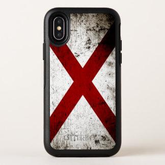 De zwarte Vlag van de Staat van Grunge Alabama OtterBox Symmetry iPhone X Hoesje