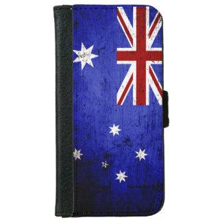 De zwarte Vlag van Grunge Australië iPhone 6 Portemonneehoesje
