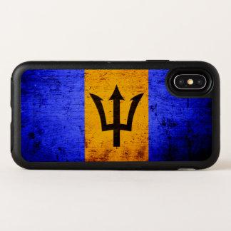 De zwarte Vlag van Grunge Barbados OtterBox Symmetry iPhone X Hoesje