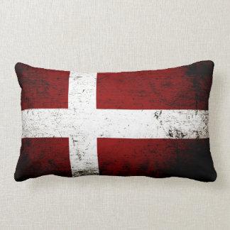 De zwarte Vlag van Grunge Denemarken Lumbar Kussen