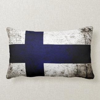 De zwarte Vlag van Grunge Finland Lumbar Kussen